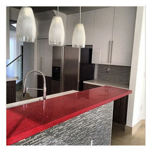Chinese Red Marble Prefab Laminated Quartz Bathroom Countertops Island Counter Reception Red Bathroom Countertop