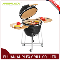 Auplex Factory Wholesale 21 Inch Glazing Ceramic Charcoal Grill Kamado Ceramic Grill Big Size Egg Shaped Grill