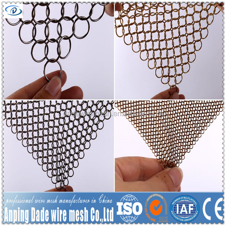 wholesale 316 stainless steel cast iron cleaner Chainmail rings Scrubber