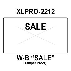 "240,000 XLPro 2212 compatible ""Sale"" White General Purpose Labels to fit the XLPRO-22B, XLPRO-22C, XLPRO-22D, XLPRO-22V Price Guns. Full case, includes 8 ink rollers."