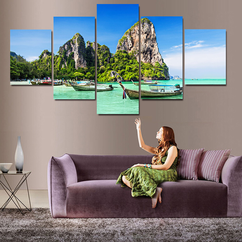 2016 New 5 Panel Modern Wall Art Home Decor Printed Beautiful Beaches Picture Oil Painting Canvas for Bed Room Unframed
