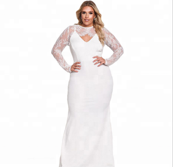 2018 New Lastest Plus Size Sexy collar lace stitching Mermaid Dress 5142665ac1be