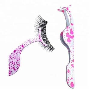 Private label good quality colorful stainless steel volume eye lash tweezers