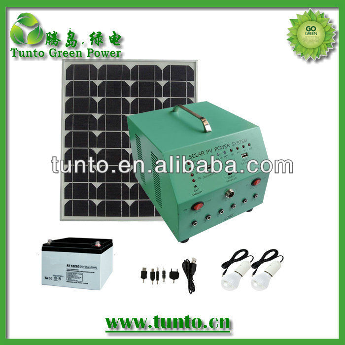 Portable solar power system AC output(45W solar panel+controller+inverter+24AH Battery)