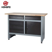 Hongfei Steel Garage Storage Cabinet and Workbenches with Wooden Cover Top