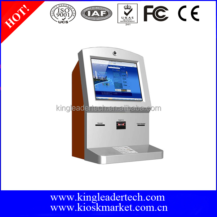 Wall mount information touchscreen kiosk with thermal receipt printer and card reader
