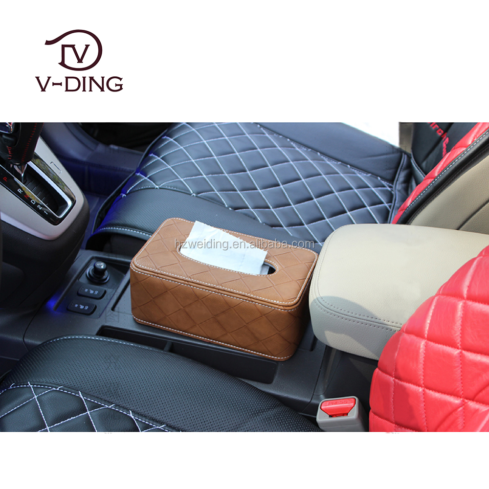 vding from china supplier new best sell products suitable for car accessory Leather car tissue box holder