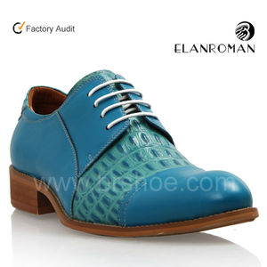2018 Wholesale Latest Alibaba Nice Turquoise Color Leather Lace Up Derby Shoes Mens Dress Shoes Pictures