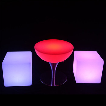 cordless rechargeable outdoor garden plastic furniture led lighted bar table
