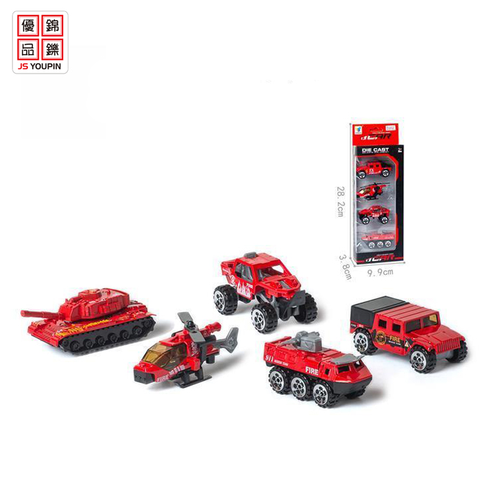 4 in 1 free wheel diecast car models toy car fire truck rescue car toy