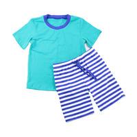100% cotton summer outfit plain tops stripe shorts infant clothing boutique wholesale baby boy outfits