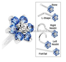 CZ anise 316L surgical steel nose piercing rings Body Jewelry