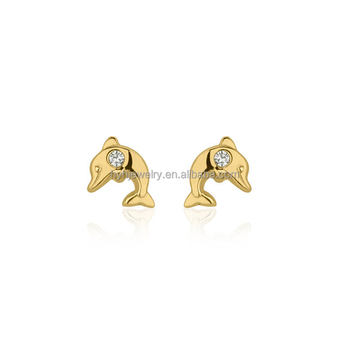 Korean Cute Animal Cubic Zirconia Stud Earrings 14k Yellow Gold Dolphin Christmas Gift