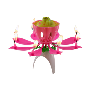 Wholesale Opening Small Lotus Flower Sparkling Music Candle