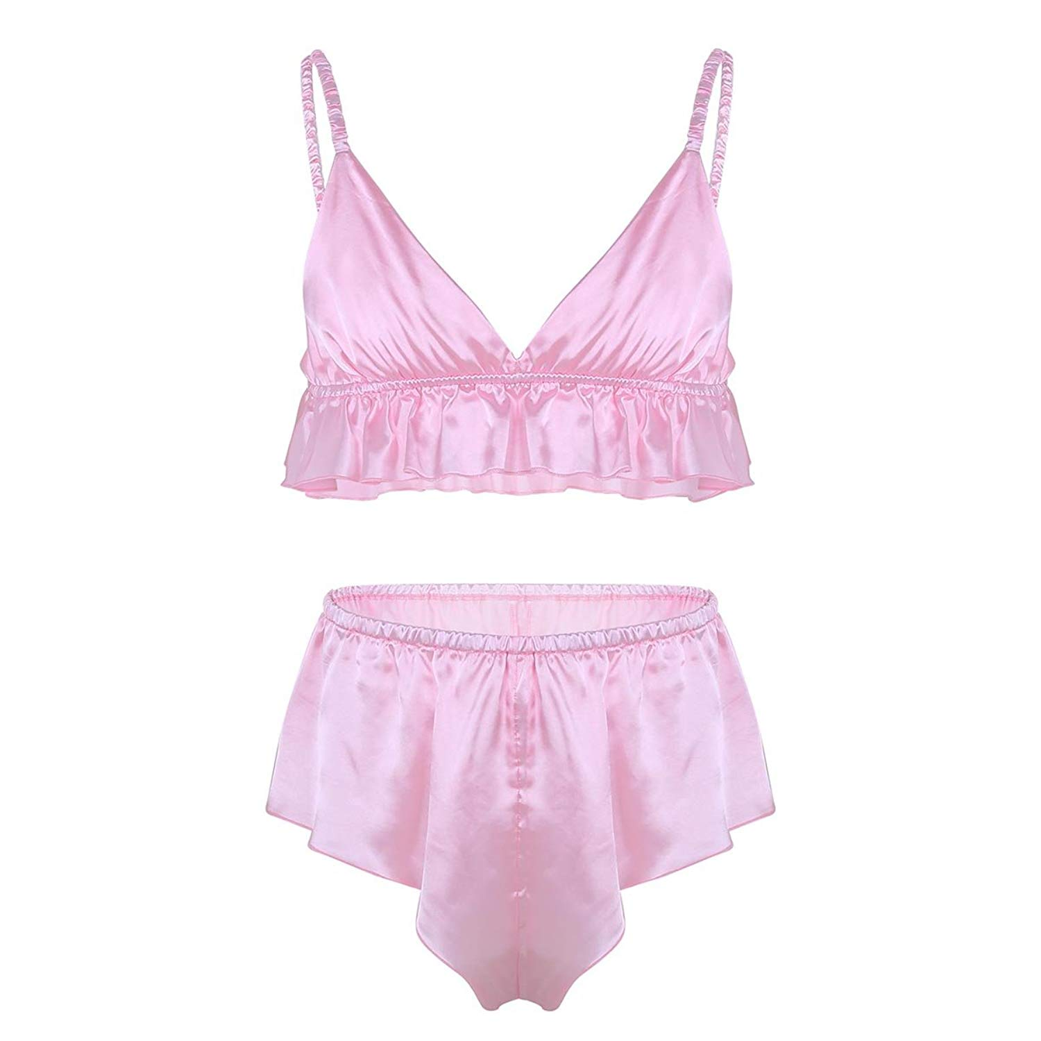 54817bb474cfa Get Quotations · ACSUSS Men s 2 Pieces Sissy Lingerie Silky Bra Top Loose  Crossdress Panties Set