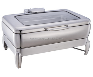 Visible glass lid chafer induction chafing dish with hydraulic hinge