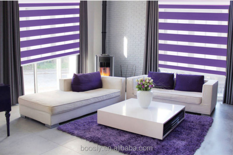 Double Layer Manual Zebra Blind For Living Room