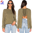 2017 New fashion women design sexy low cut drop shoulder backless distressed tops blouse with hoodie