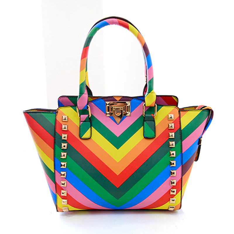 2017 New Fashion Summer Pu Leather Rainbow Striped Top Handle Bag Wings Valentin Bags For Women Rivet Shoulder Handbag In Price On