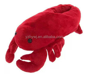 2016 hot selling red lobster plush slippers