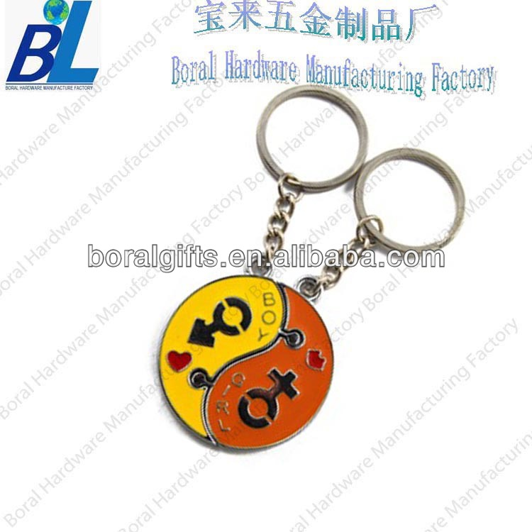 Lover`s souvenir gifts of kiss locked puzzle key chain