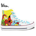 Design Custom White Hand Painted Shoes Anime Pokemon Pocket Monster High Top Canvas Sneakers for Men