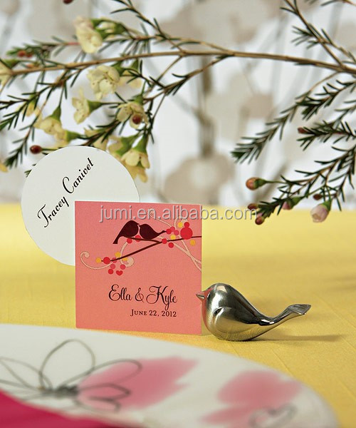 Brushed silver love birds place card holders wedding favours sweet wedding decoration