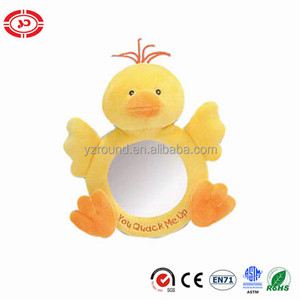 Baby mirror yellow duck cute funny play soft plush toy