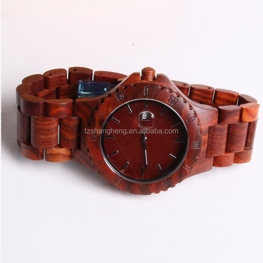 Low price red sandal wood bezel high quality luxury bamboo wood watch