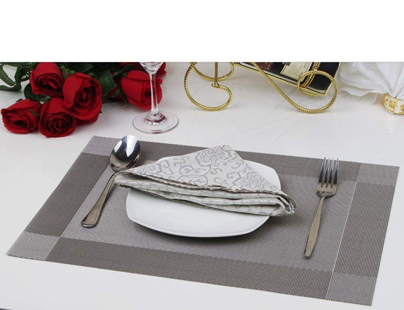 Kangkang @ Dining Room Placemats for Table Heat Insulation Anti-skid Stain-resistant Simple Style Eat Mat - Set of 4 (Silver+black) Chromatic Stripe Western-style Food Bowl Mats (Silver grey)