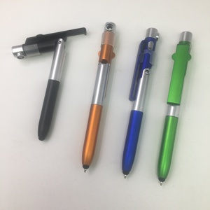 New design 4 in 1 function plastic pen stylus tip,phone holder,led night lighting plastic ballpen