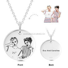 925 Sterling Silver Custom Engraved Photo Name Tag Pendant Necklace Best Friend Round Disc Jewelry