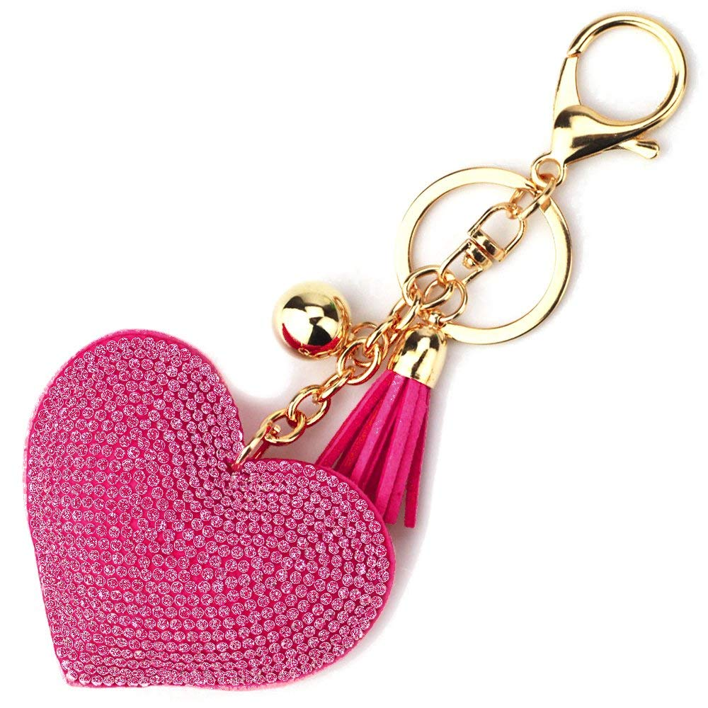 8ae7f5111 Get Quotations · Elesa Miracle Girl Women Love Heart Tassel Keychain, Purse  Bag Charm, Handbag Accessories,