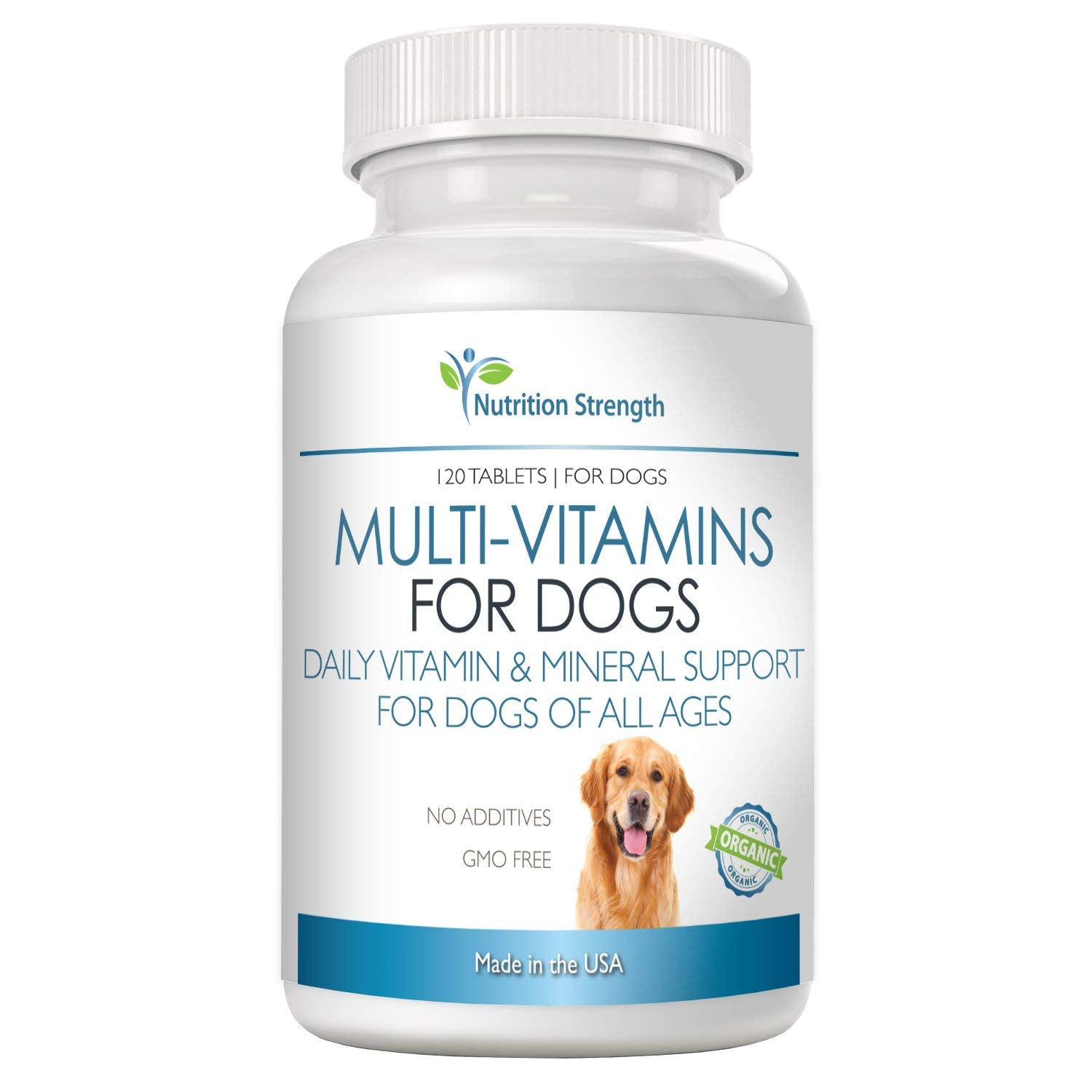 Nutrition Strength Organic Multivitamins for Dogs, Nutritional Supplements, Daily Vitamin and Mineral Support, 120 Chewable Tablets