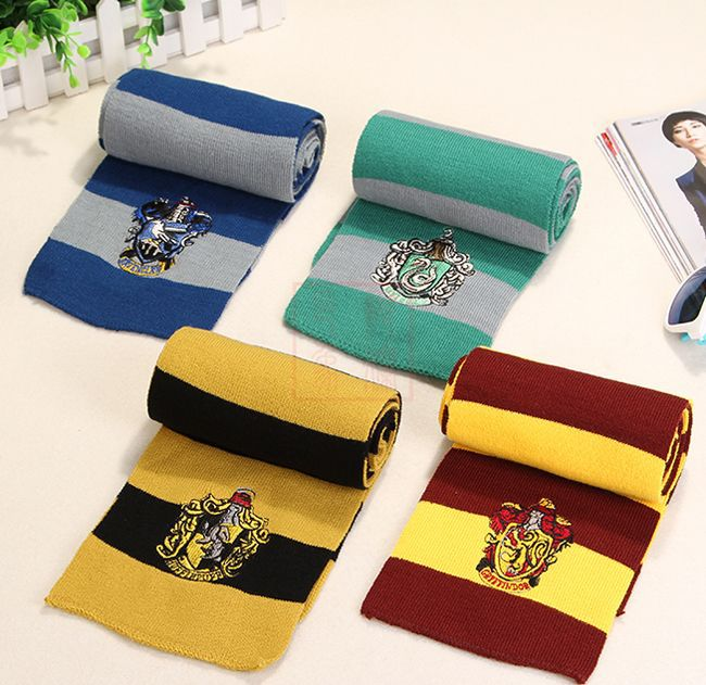 wholesale Harry Potter design Acrylic yarn <strong>scarf</strong> embroidery fabric <strong>scarf</strong> stripe fabric <strong>scarf</strong>