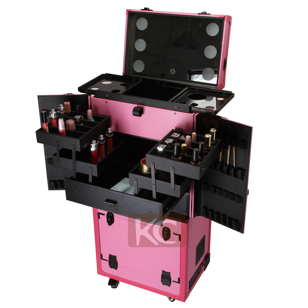 Trolley beauty case makeup stations with lighted mirror
