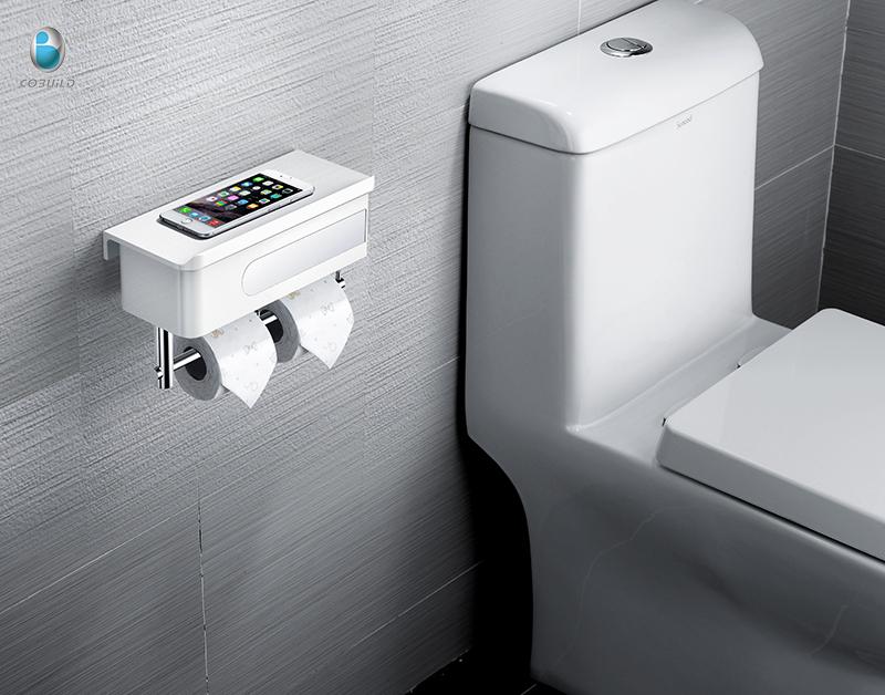 Elegant Minimalismus Weiß ABS Multifunktions Toilettenpapierhalter Mit Lagerung  Regal