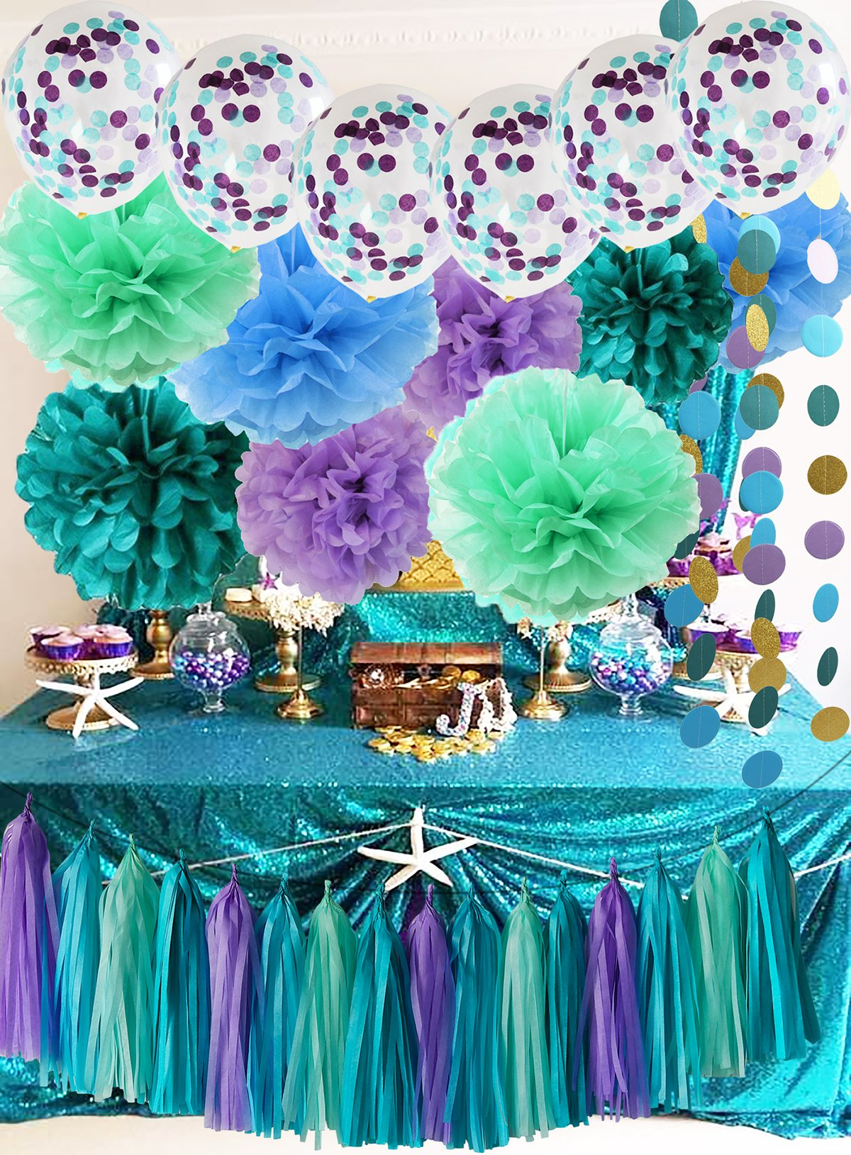 under the sea party suppliesmermaid party decorations teal purple blue mint tissue pom poms first birthday decorations baby shower decorations mermaid