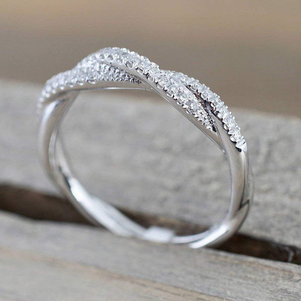 Elegant Ring, Hoshell Fashion Twisted Diamond Engagement Band Ring for Women Girl Gift (9, Silver)