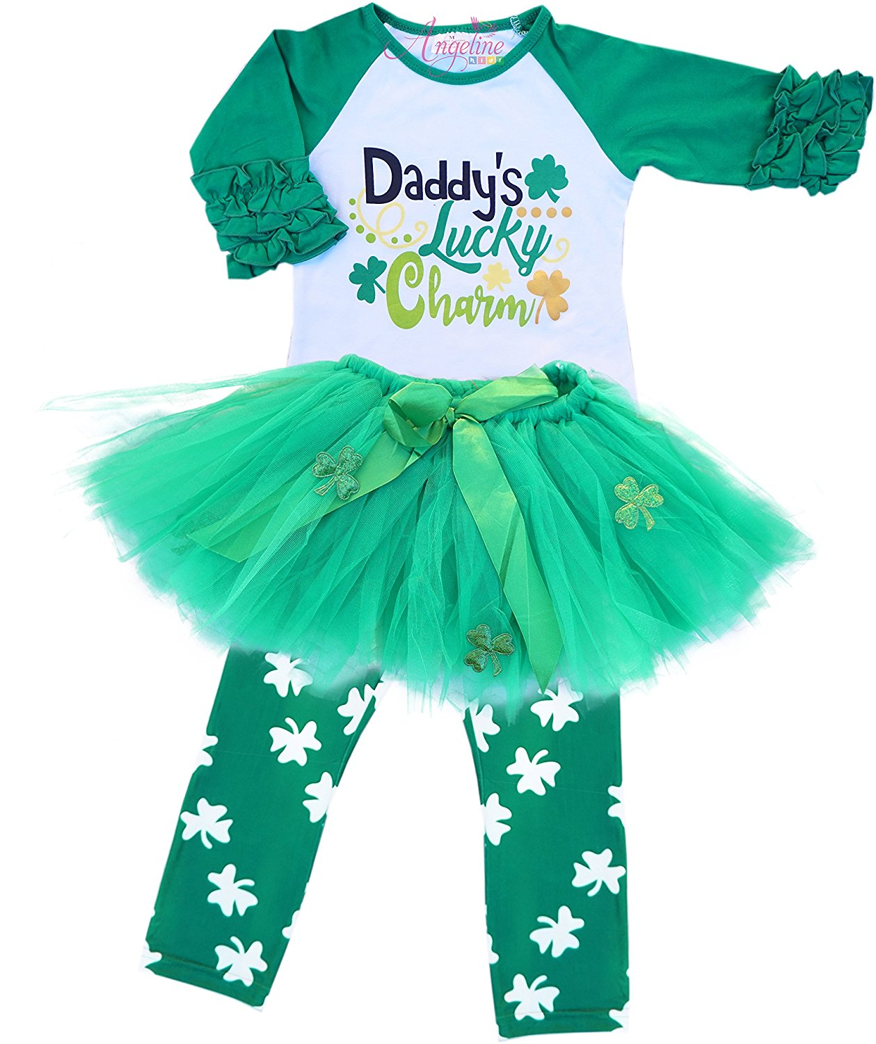 Petitebella ST Patricks Day Green Sequined Pettiskirt Skirt Party Dress Girl Clothing 1-8y