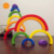 Wooden Rainbow Building Stacking Game with 6 Different Color and Shapes Learning Toy Geometry Blocks Educational Toys for Kids