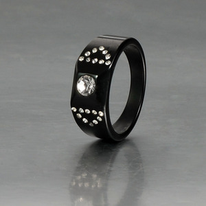 Inox Manufacturer High Quality Mens Black Ceramic Diamond Wedding Ring