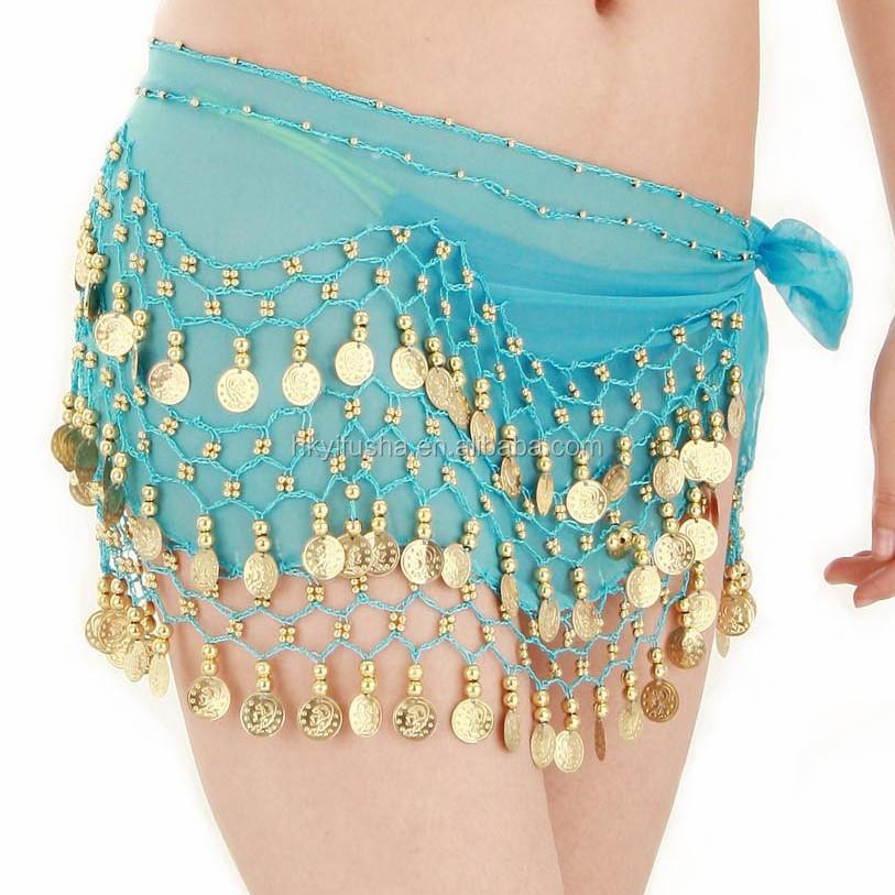 Wholesale cheap women chiffon belly dance hip belts golden coins belly dancing hip scarves