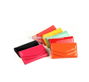 ladies fashion hard case wallet with flap gloss shiny PU leather lady wallet
