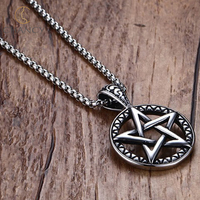 2018 hot sale stainless steel pentagram pentacle pendant necklace for women and men