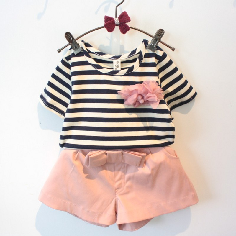 2016 Summer New Arrival Girls Clothing Set T-Shirt+Shorts 2PCS Set Girl Clothes Cute Kids Suits With Flower