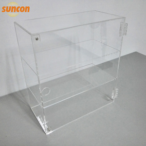 Customized Crystal Clear Acrylic Cube Display Case with door fixed by magnet and hinges