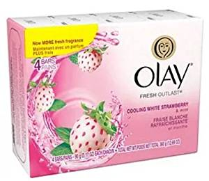 Olay Fresh Outlast 4 Beauty Bars of 3.17 oz, Cooling White Strawberry & Mint- Pack of 1