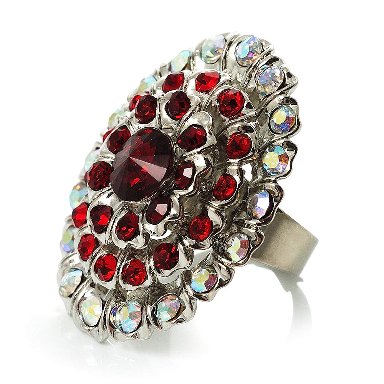 Occasions Gift Giving Pave Clear Rhinestone Dome Silvertone Cocktail Stretch Ring