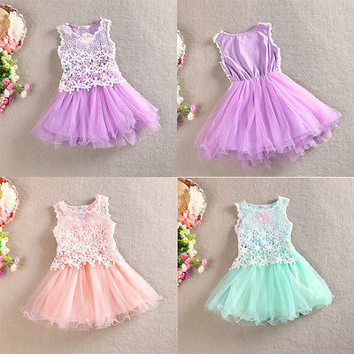 3 Color 2016 New Kids Baby Girls font b Fancy b font Lace Flower Tulle Gown